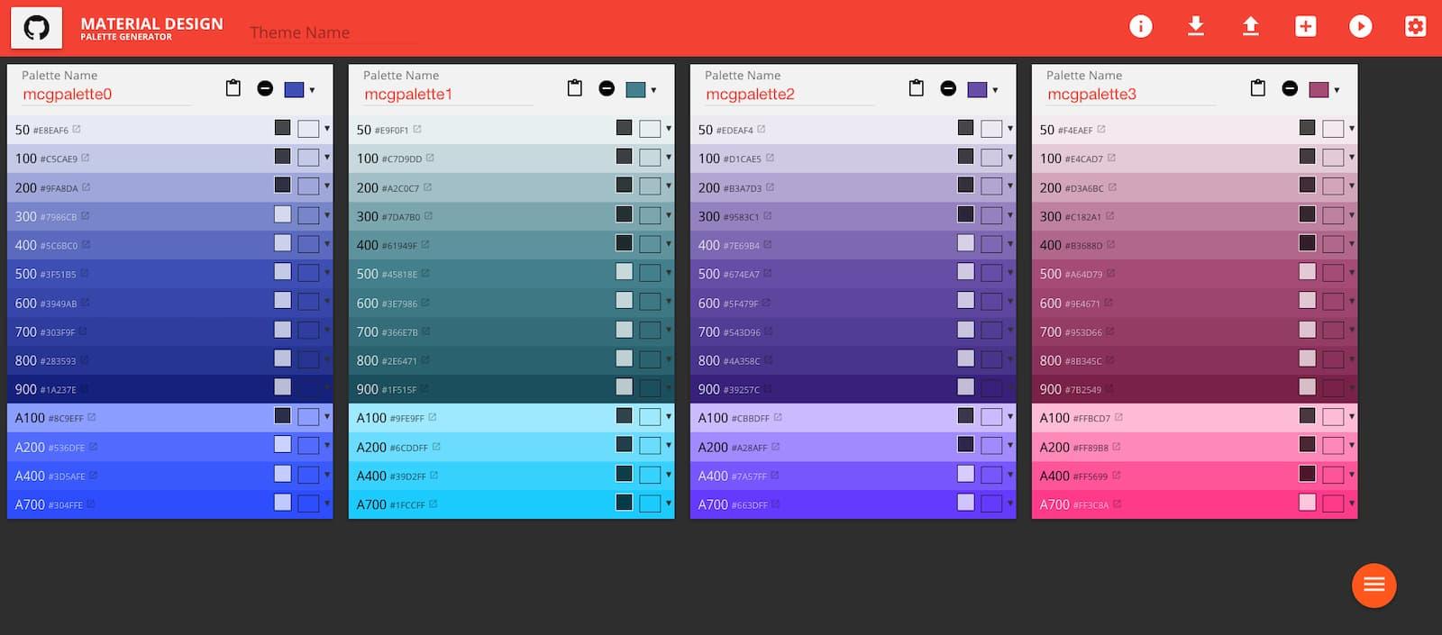 Material Color Design Palette Website Screenshot