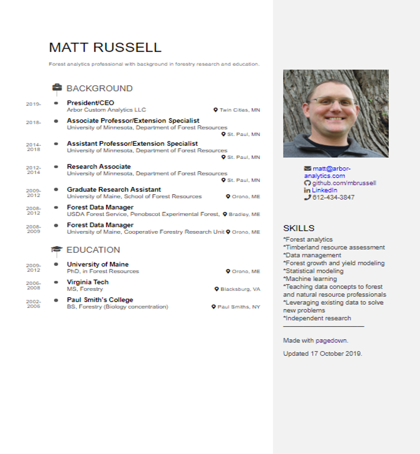 A resume for Matt created with pagedown.