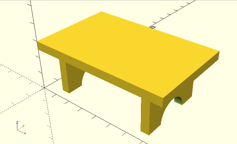 Table with two legs, assembled