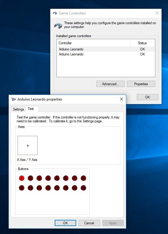 Windows Game Controller Properties