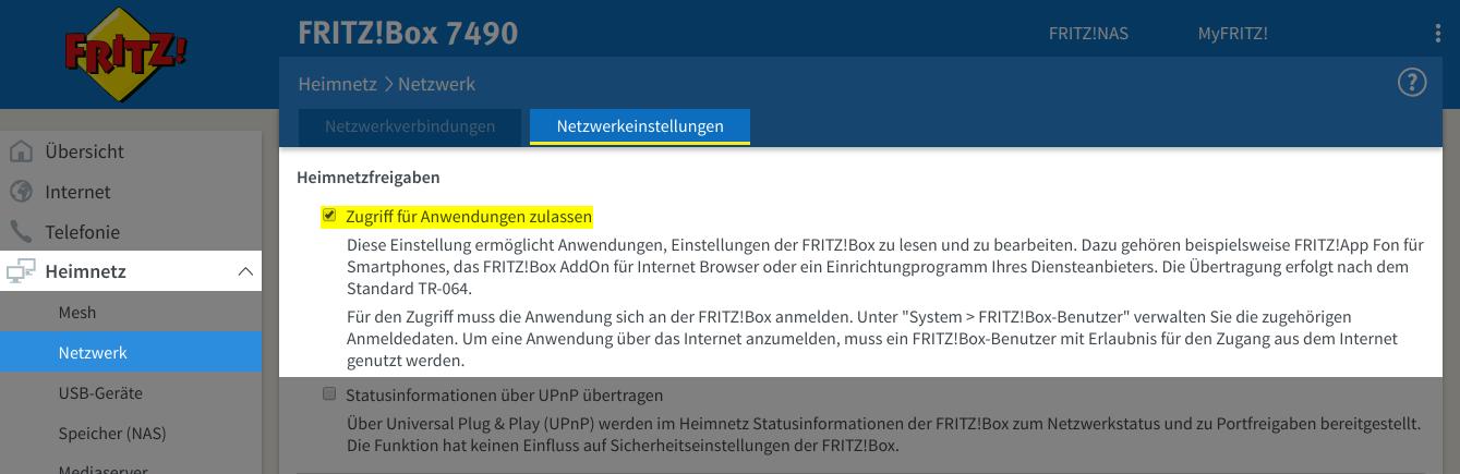 Fritz!Box configuration