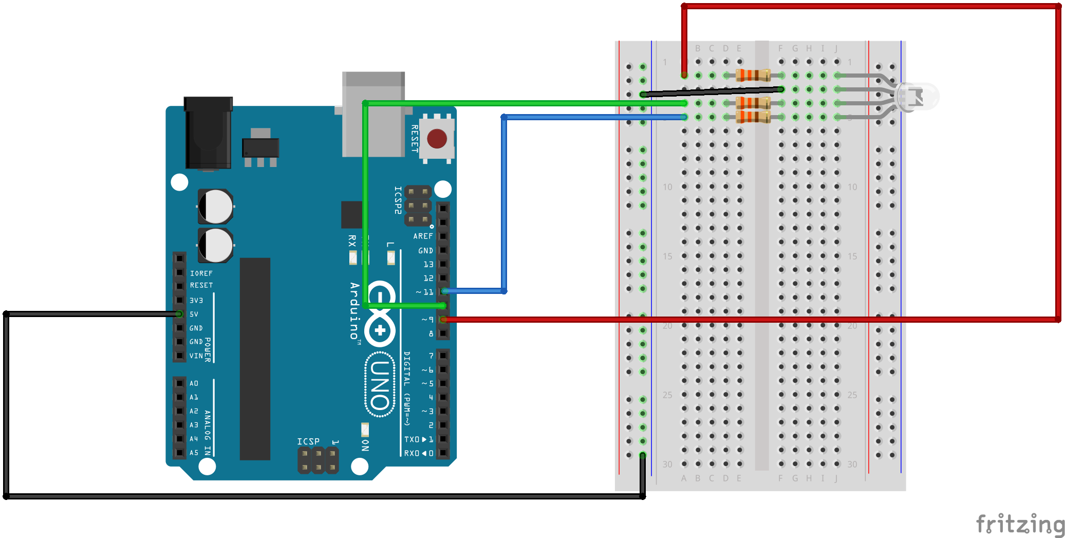 Github Mclarkk Arduino Rgb Tutorial Introductory Level Topic Led Driver Circuit Works But Resistor Gets Hot Read 1 Your Finished Will Look Like Something This Except That The Black Wire Connect To 5v Instead Of Ground Note Our Hookup Diagram Is