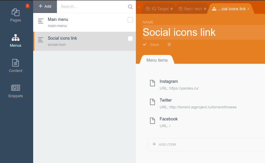 Manage social icons