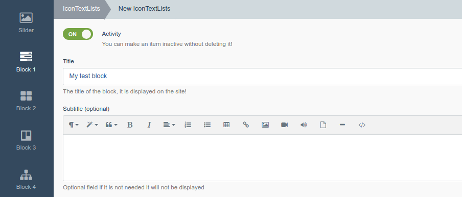 Creating an instance of Block 1. Customize headings and subheadings Icon