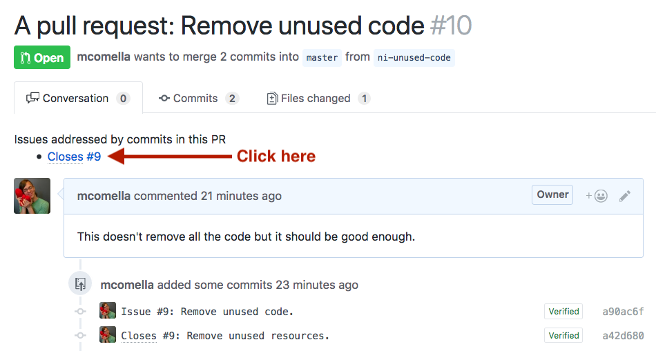 Demonstrating moving from pull request to issues