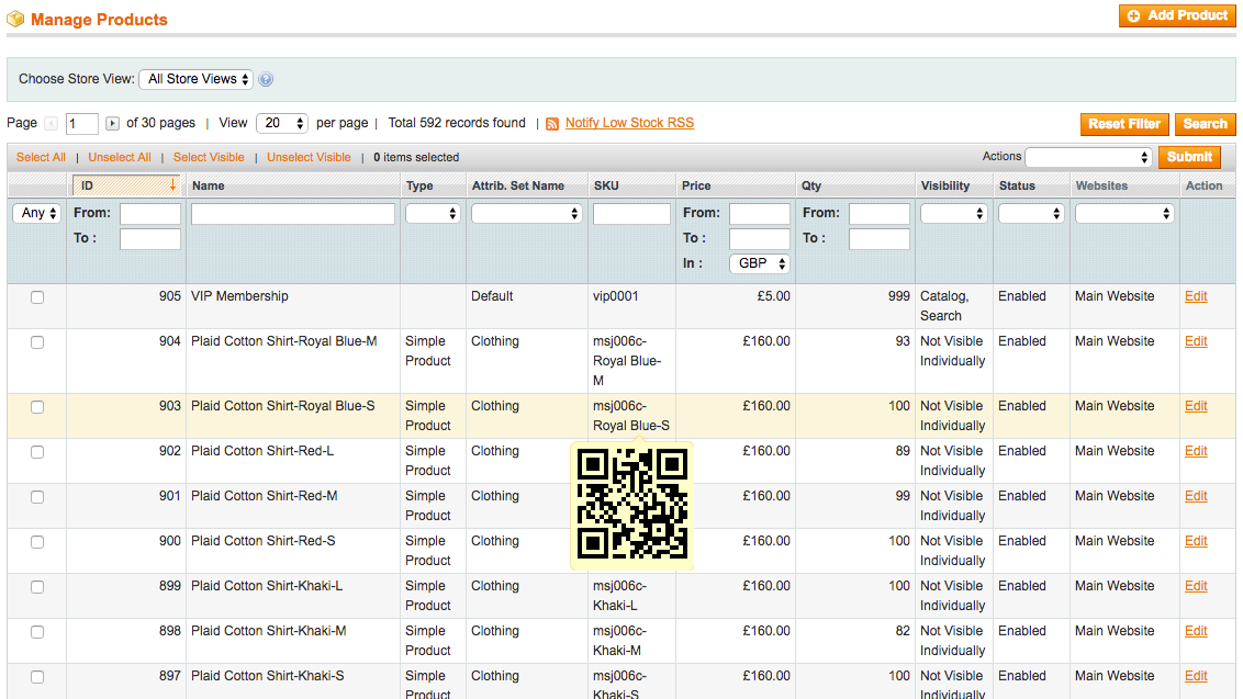 Product Grid with QR Code popup showing when mouse is hovering over a products SKU code