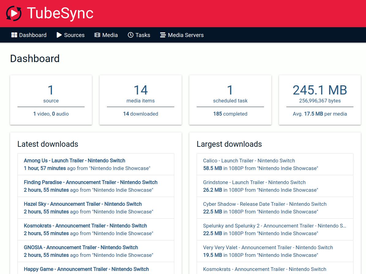TubeSync Dashboard