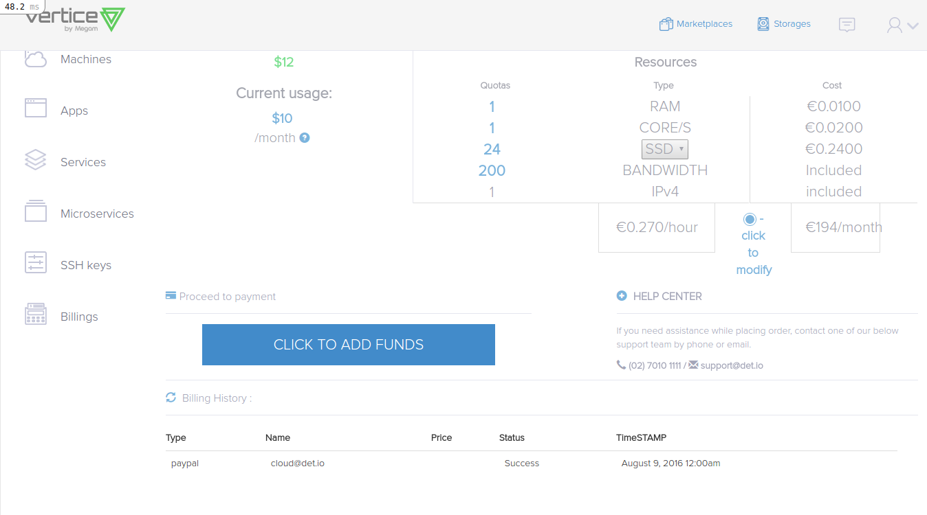 Billing usage and selector