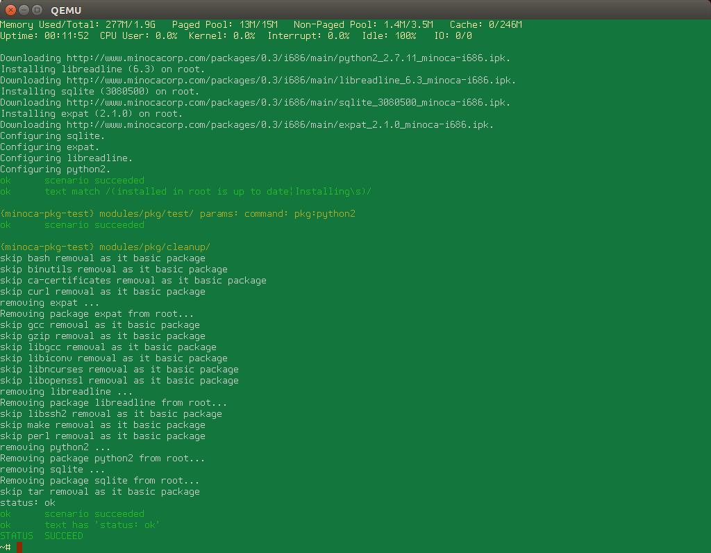 minoca-pkg-test screen shot