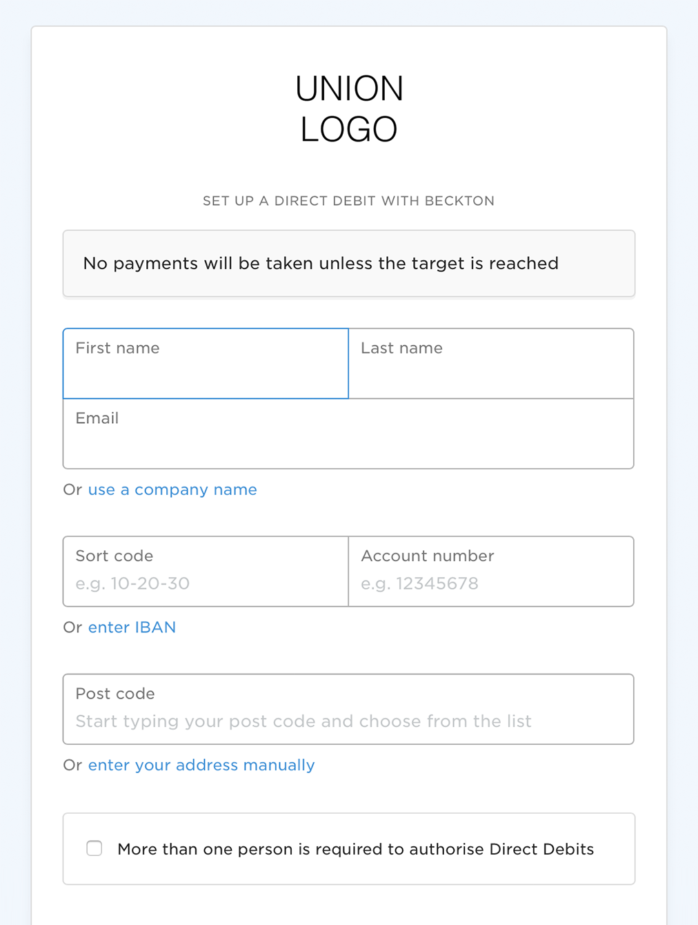 GoCardless Direct Debit page 1