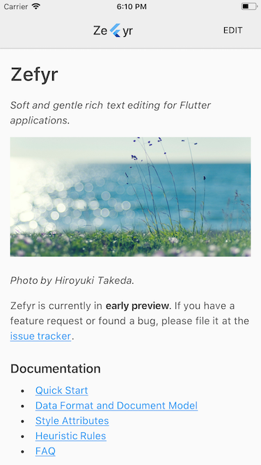zefyr screenshot