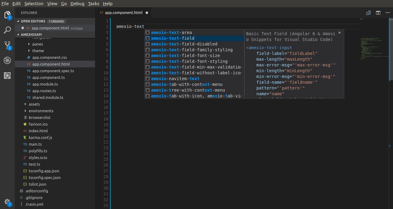 Angular 7 & Amexio Snippets for Visual Studio Code - Visual