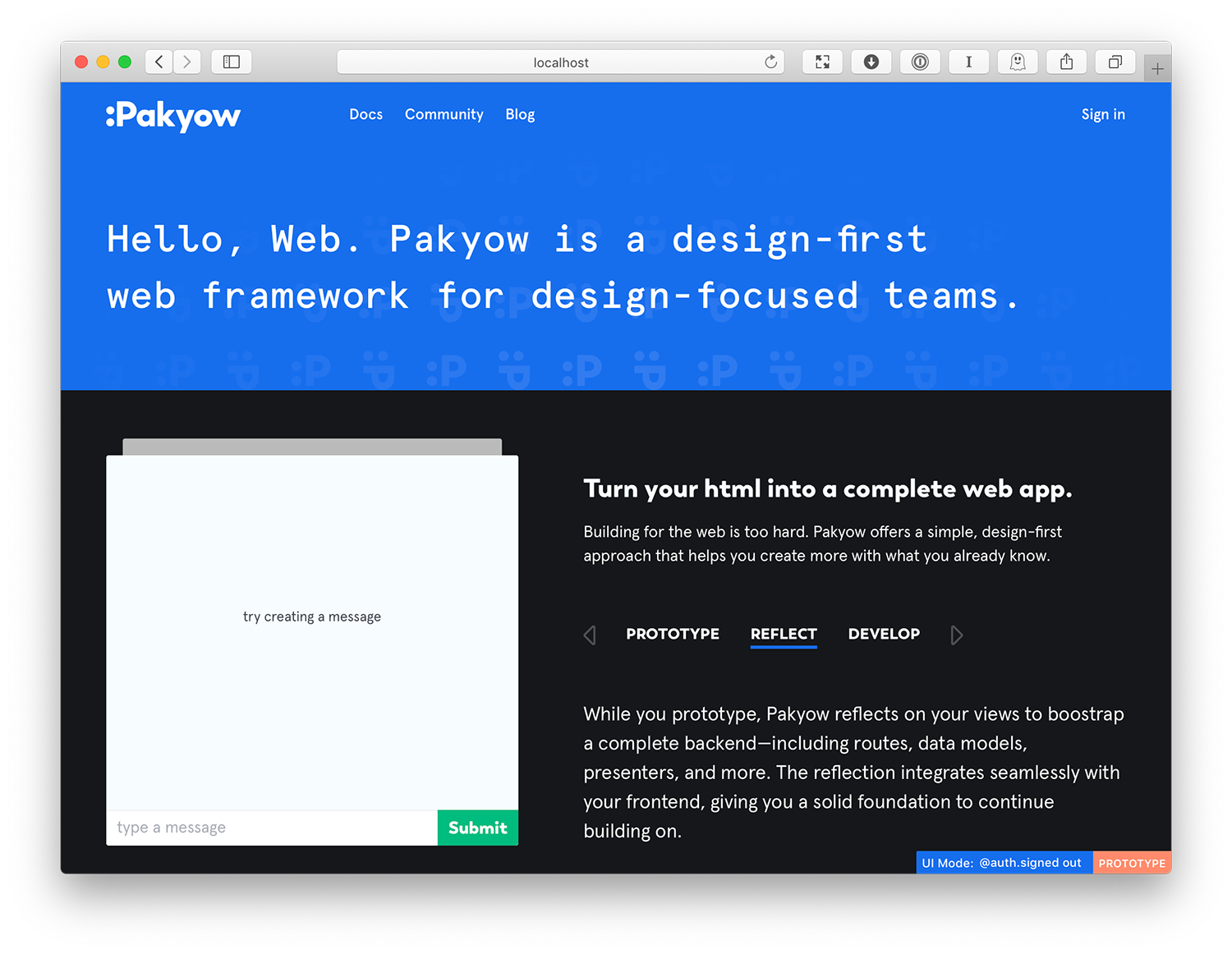 Pakyow.com Homepage in Prototype Mode