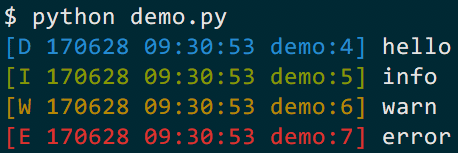 Demo output in color