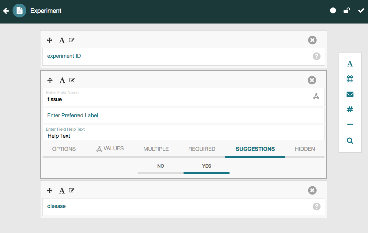 Screenshot of CEDAR's Template Designer that shows an Experiment template with three fields
