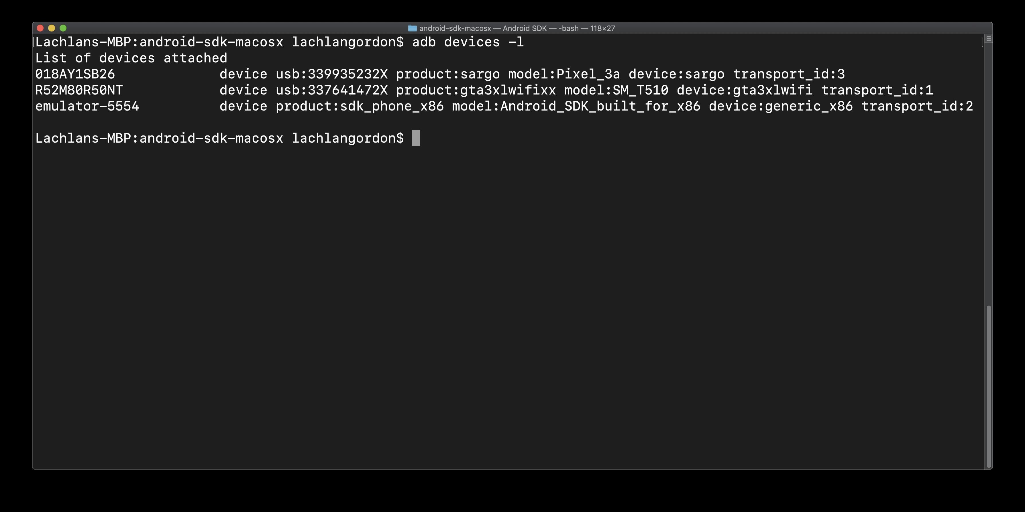 result of running adb devices -l