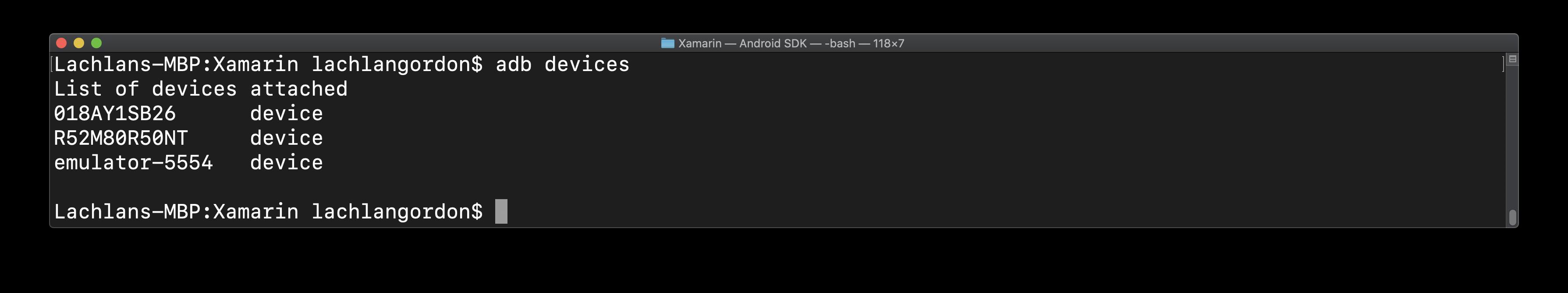 result of running adb devices
