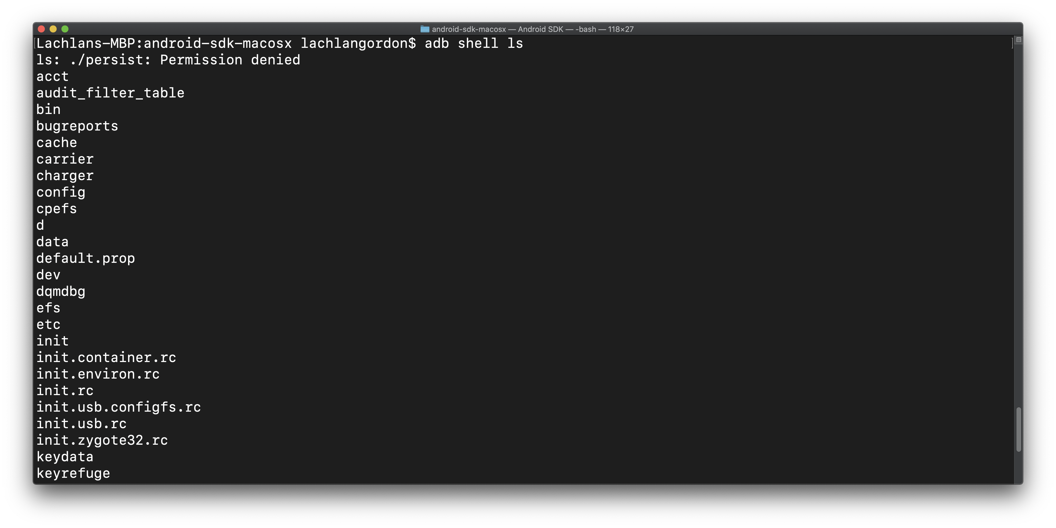 using shell to run the ls command