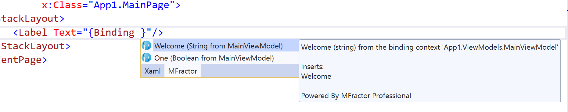 MFractors ViewModel data binding IntelliSense