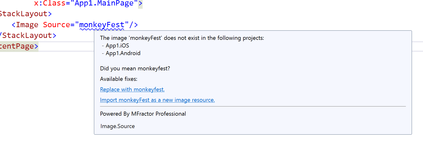 MFractor detecting a missing image asset and offering several code fixes to resolve it