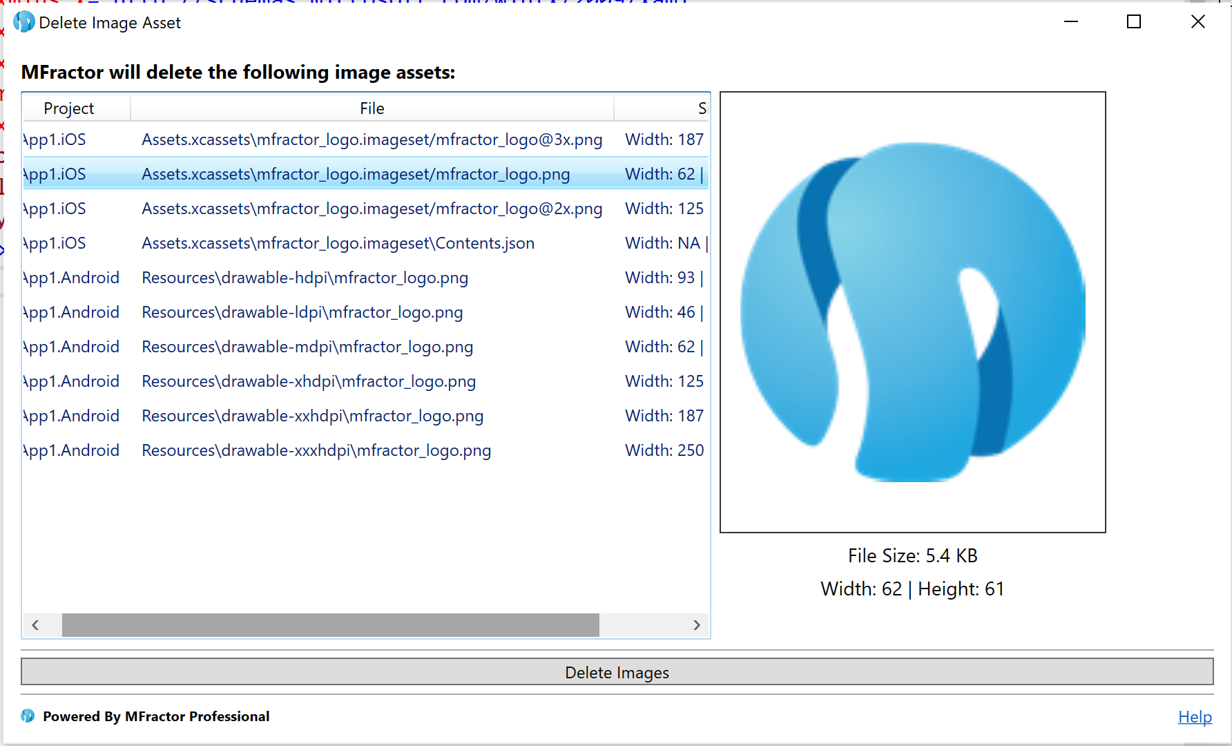 The image deletion tool