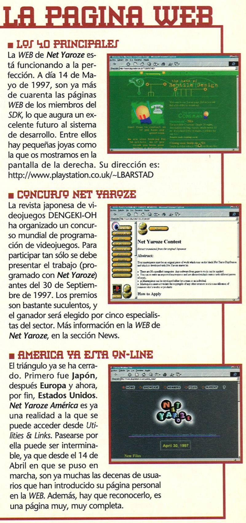 Las paginas WEB de miembros Net Yaroze