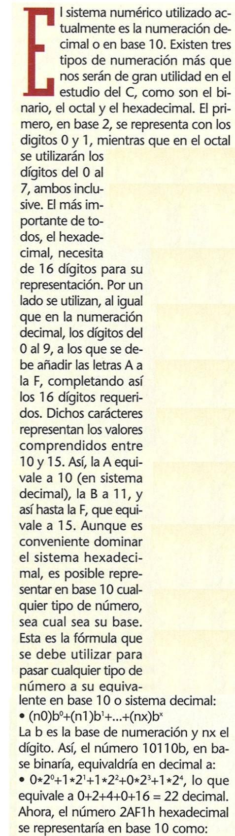 Decimal y Hexadecimal