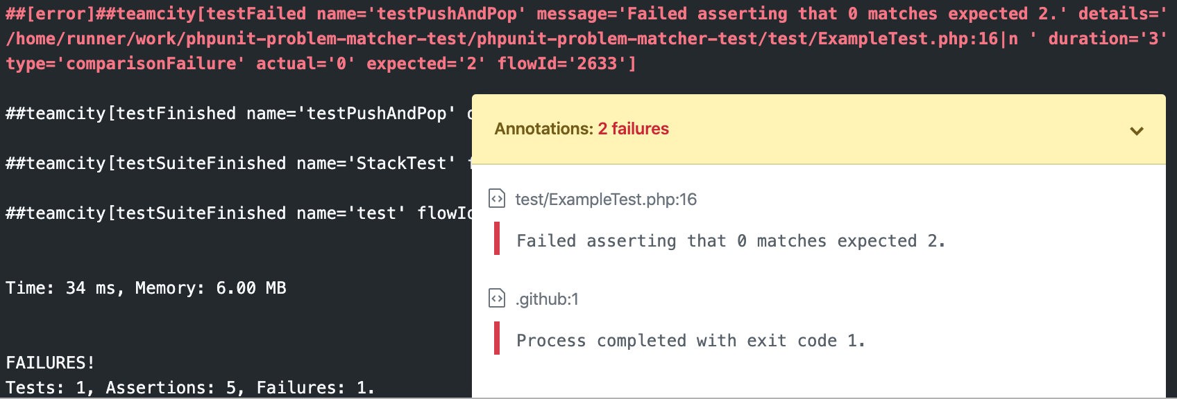 PHPUnit Action Matcher Logs Example