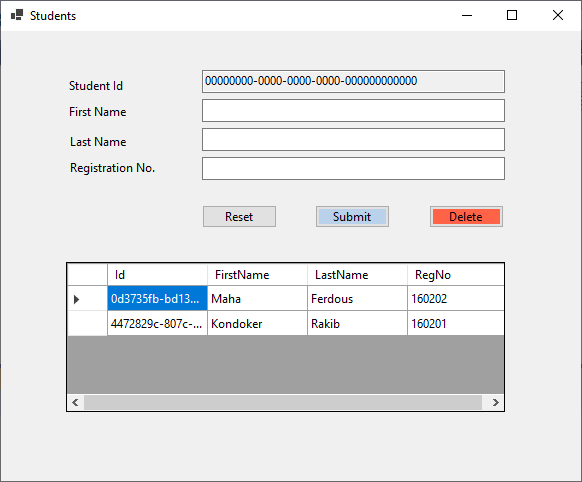 Windows forms Student