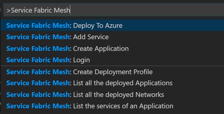 Service Fabric Commands in Visual Studio Code