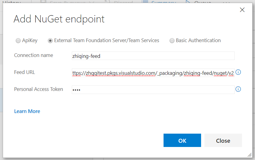 setting add NuGet endpoint