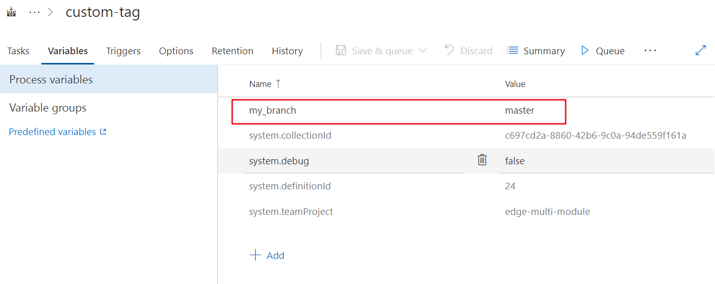variable setting in build definition