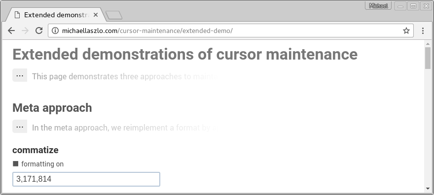 Interactive implementation of several cursor-maintenance approaches