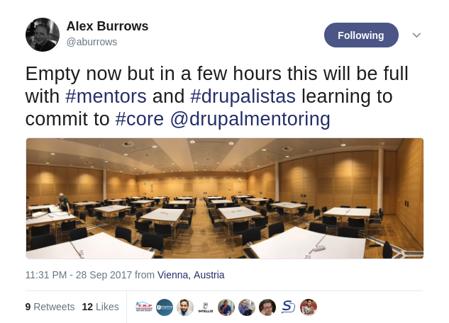 Alex Burrows' tweet - beginning of the day at the Friday sprint