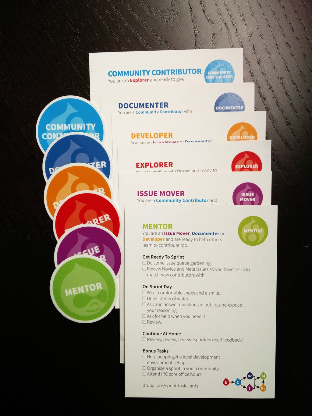 Drupal mentoring cards and badges