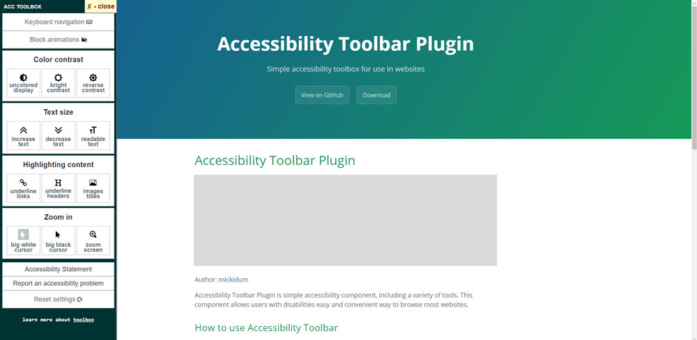 Accessibility Toolbar Plugin Poster