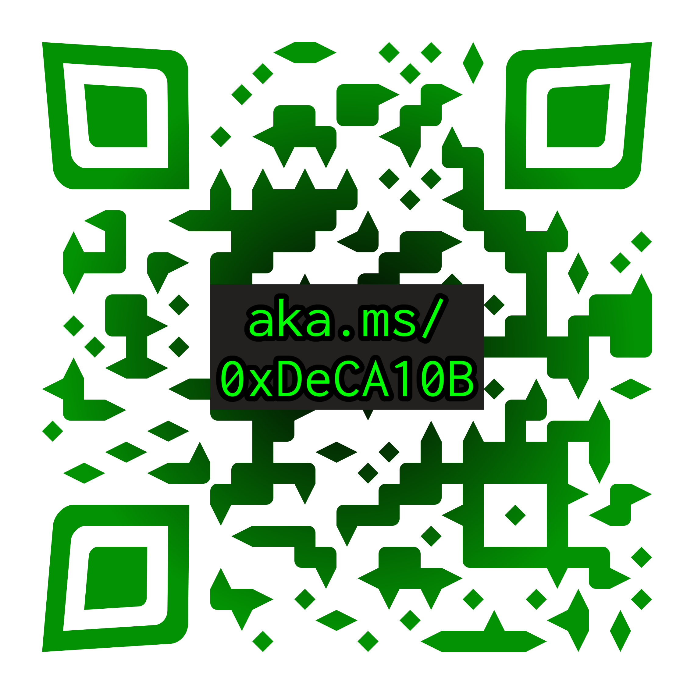 Picture of a QR code with aka.ms/0xDeCA10B written in the middle.