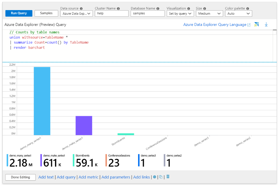 A image of a workbook with an Azure Data Explorer query