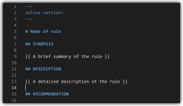Rule markdown documentation snippet