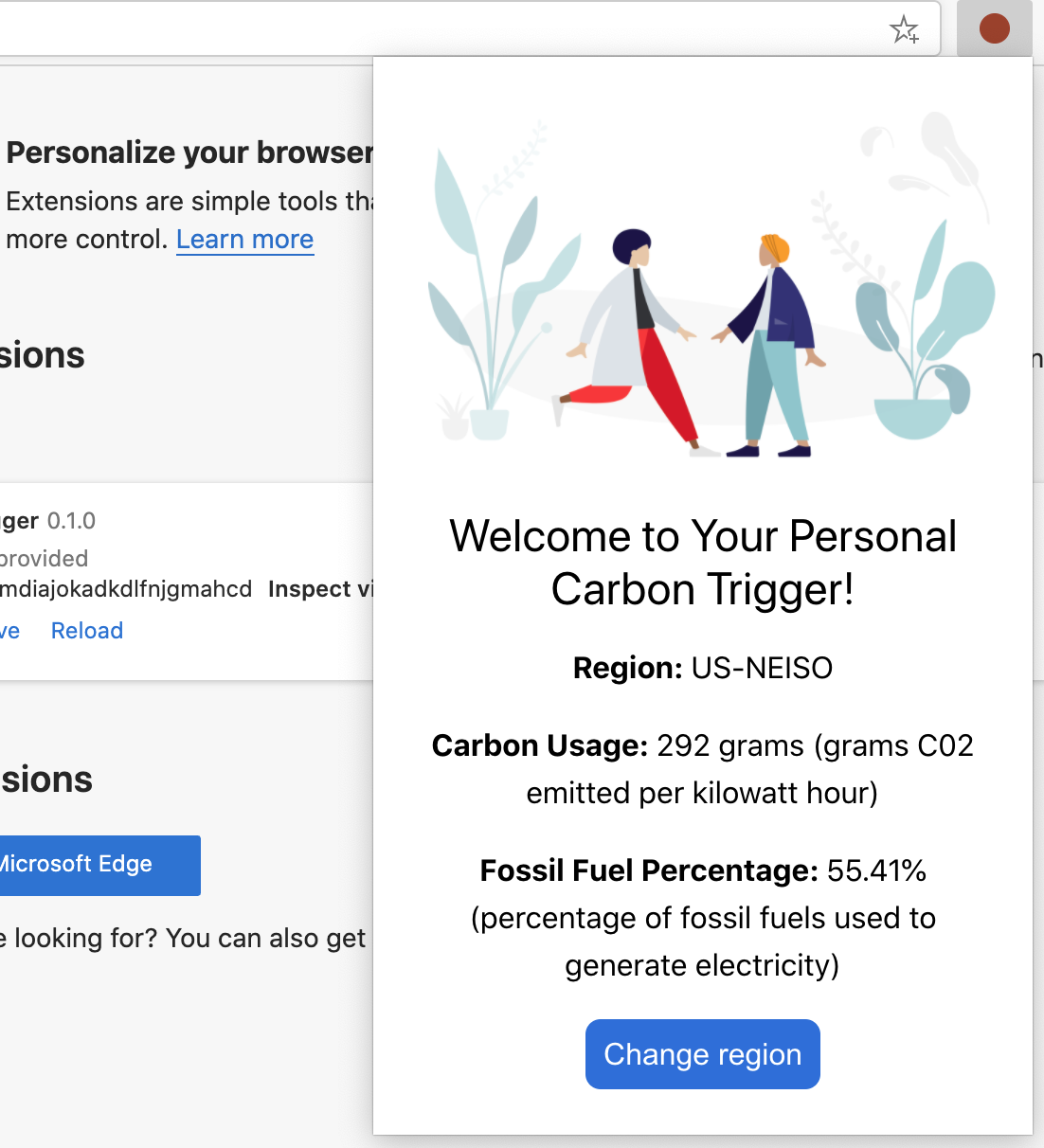 screenshot of the completed extension displaying values for carbon usage and fossil fuel percentage for the US-NEISO region.