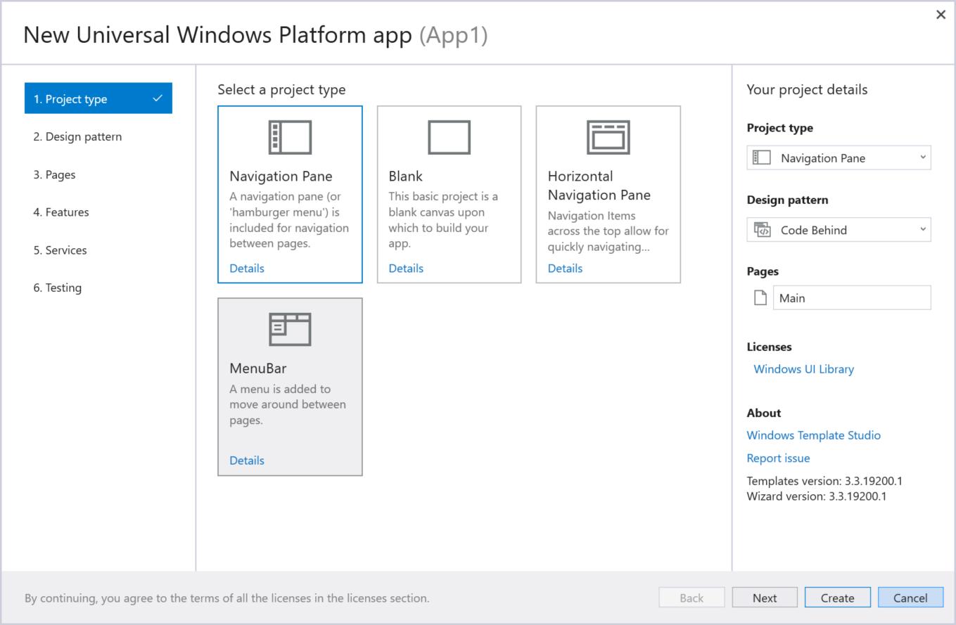 Windows Template Studio UWP screenshot