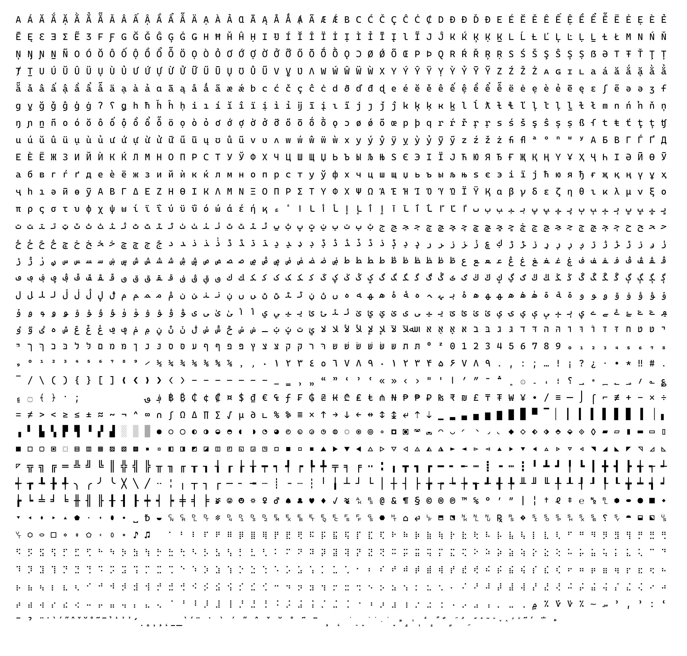 (HIDPI)Cascadia Code 문자표