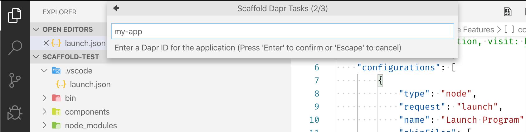Scaffold Dapr Tasks