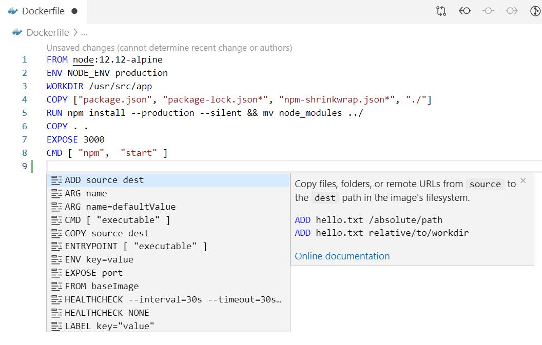IntelliSense for Dockerfiles