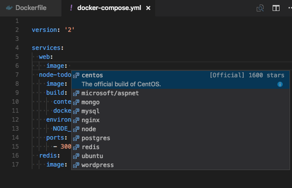 Docker Compose image suggestions
