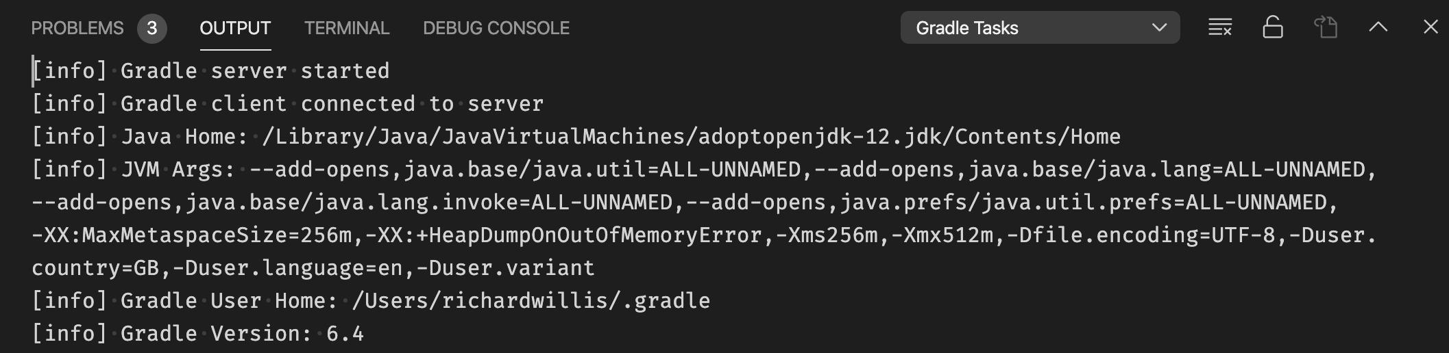Gradle extension output