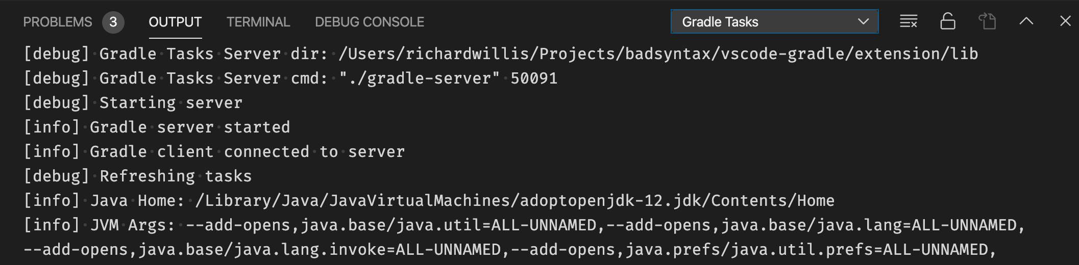 Gradle extension debug output