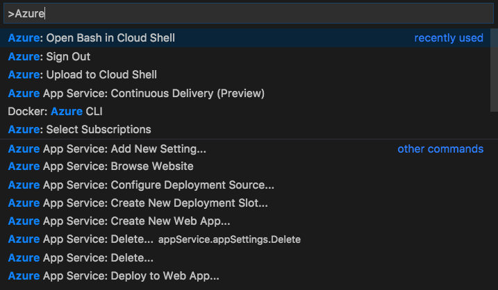 Command Palette searching for the term Azure