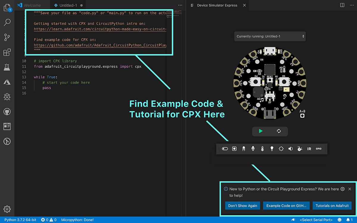 How to find example code screenshot