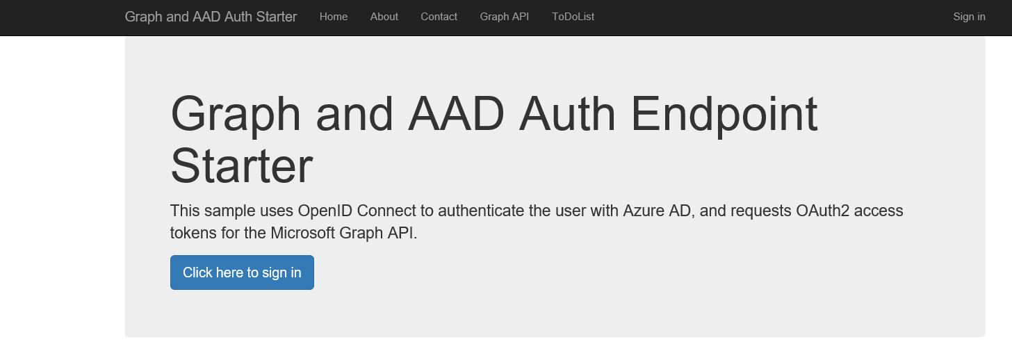 Graph and AAD authentication starter page